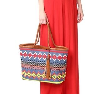 Tory Burch Embroidered Taylor Tassel Canvas Tote
